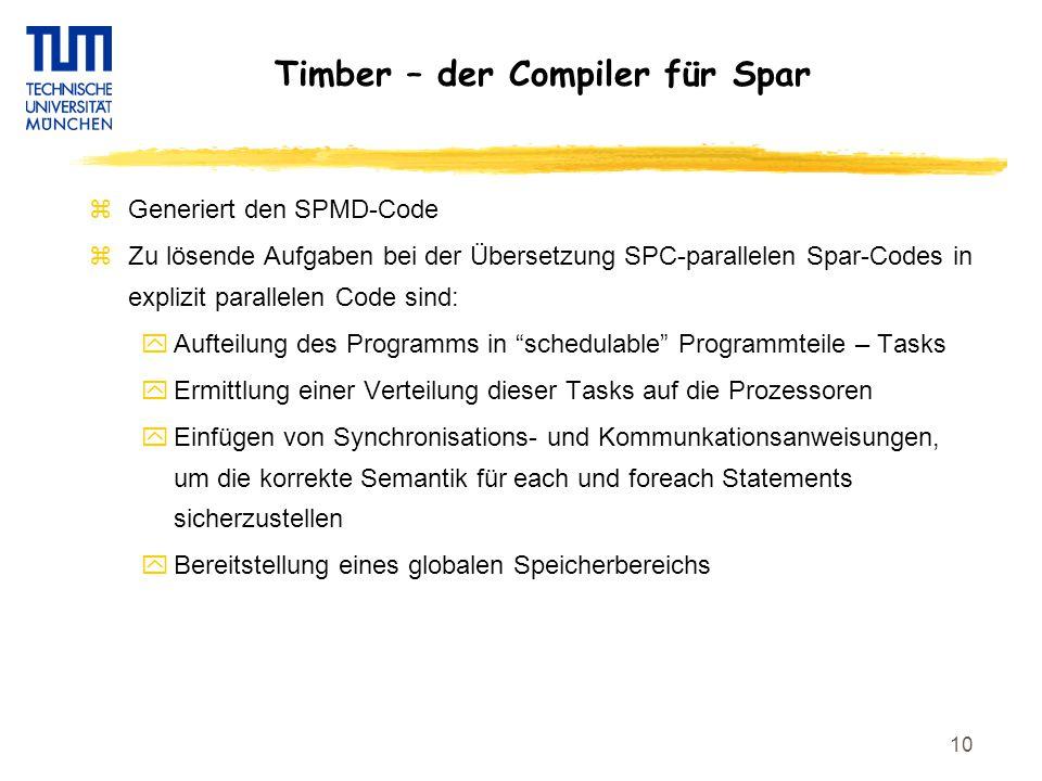 10 Timber – der Compiler für Spar zGeneriert den SPMD-Code zZu lösende Aufgaben bei der Übersetzung SPC-parallelen Spar-Codes in explizit parallelen Code sind: yAufteilung des Programms in schedulable Programmteile – Tasks yErmittlung einer Verteilung dieser Tasks auf die Prozessoren yEinfügen von Synchronisations- und Kommunkationsanweisungen, um die korrekte Semantik für each und foreach Statements sicherzustellen yBereitstellung eines globalen Speicherbereichs