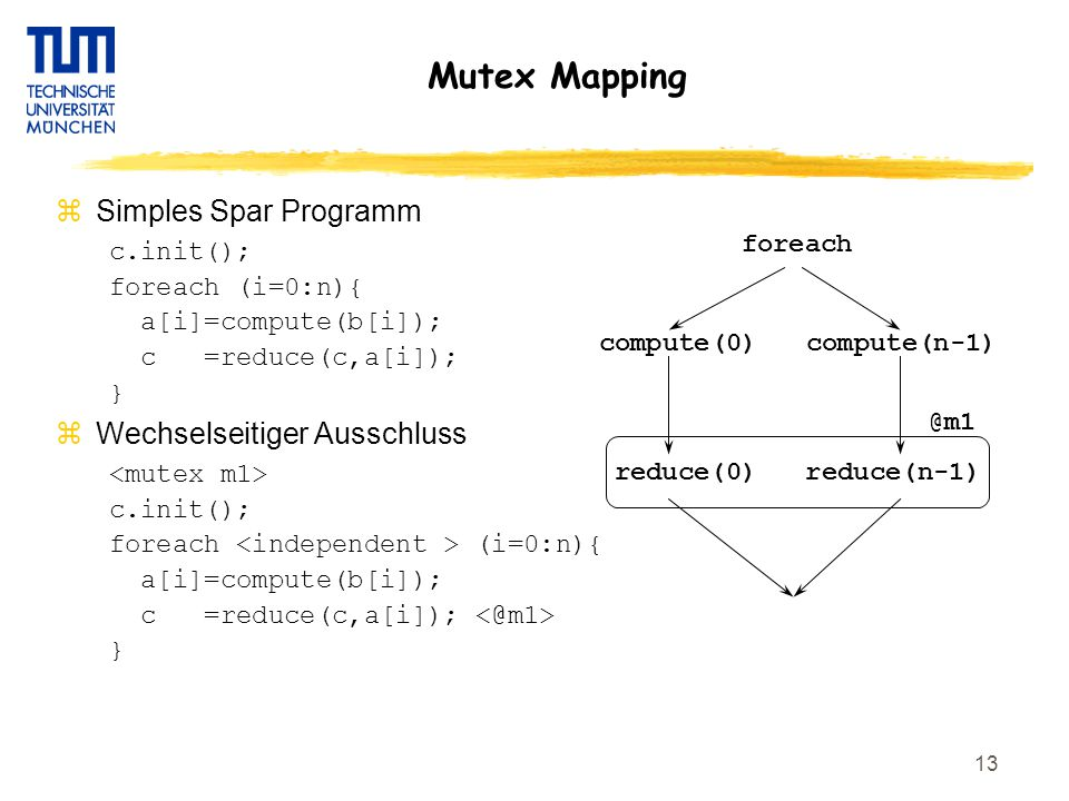 13 Mutex Mapping zSimples Spar Programm c.init(); foreach (i=0:n){ a[i]=compute(b[i]); c =reduce(c,a[i]); } zWechselseitiger Ausschluss c.init(); fore