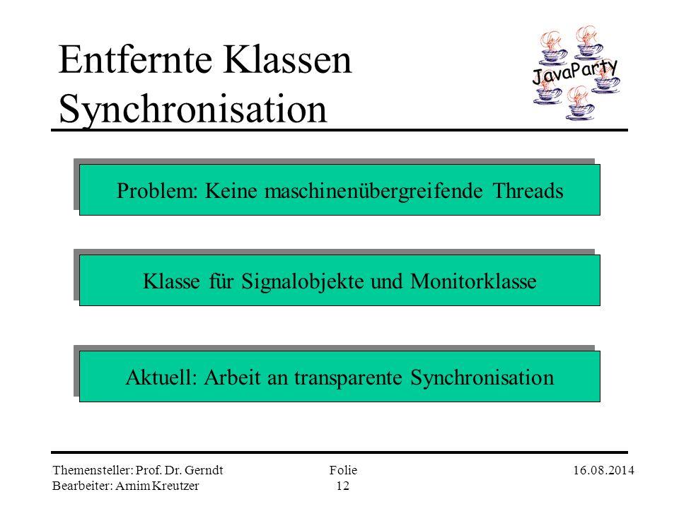 Themensteller: Prof. Dr. Gerndt Bearbeiter: Arnim Kreutzer 16.08.2014Folie 11 Entfernte Klassen Generierte Klassen