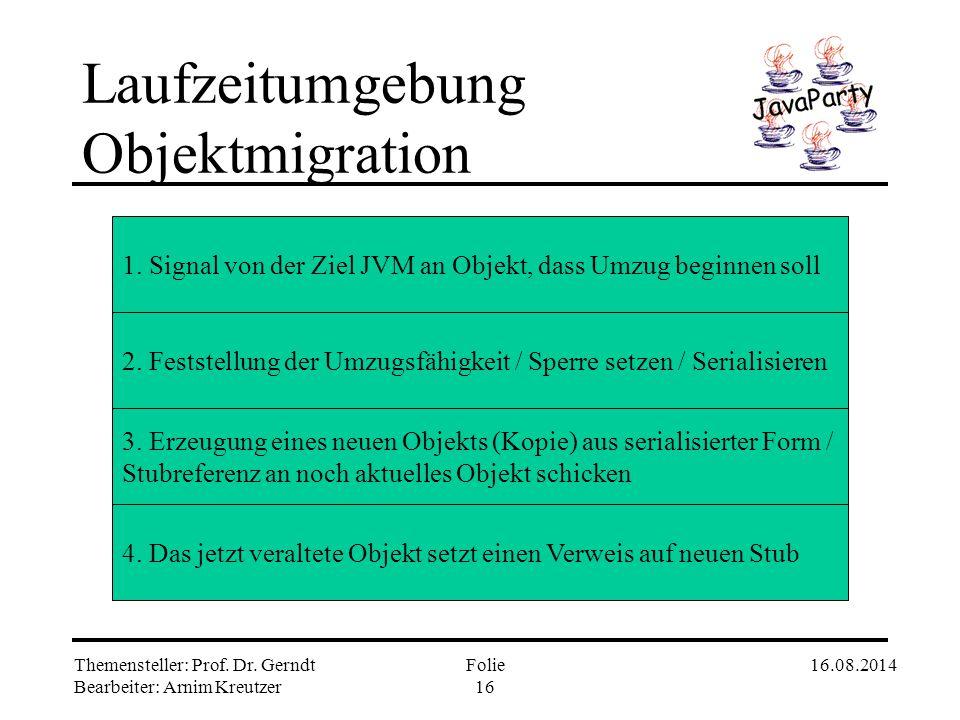 """Themensteller: Prof. Dr. Gerndt Bearbeiter: Arnim Kreutzer 16.08.2014Folie 15 Laufzeitumgebung Objektinstantiierung II B (T z) {...getConstrObj (""""B"""")."""