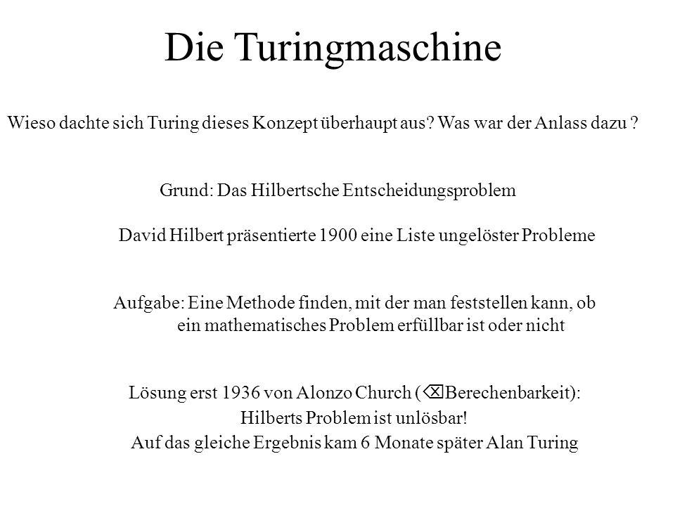Grund: Das Hilbertsche Entscheidungsproblem David Hilbert präsentierte 1900 eine Liste ungelöster Probleme Aufgabe: Eine Methode finden, mit der man feststellen kann, ob ein mathematisches Problem erfüllbar ist oder nicht Lösung erst 1936 von Alonzo Church (  Berechenbarkeit): Hilberts Problem ist unlösbar.