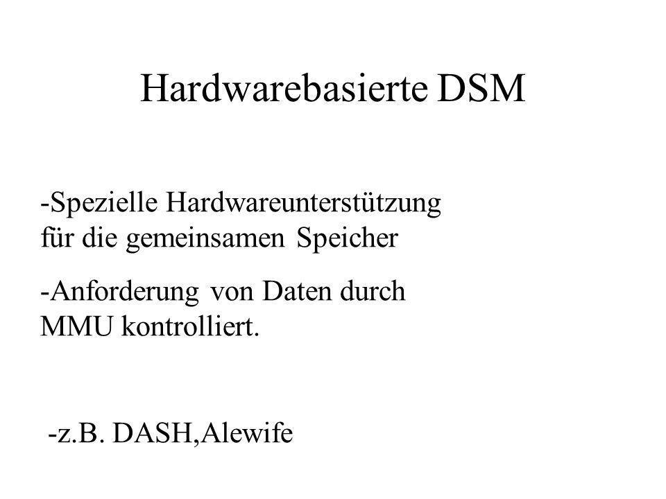 Hardwarebasierte DSM -Spezielle Hardwareunterstützung für die gemeinsamen Speicher -Anforderung von Daten durch MMU kontrolliert. -z.B. DASH,Alewife