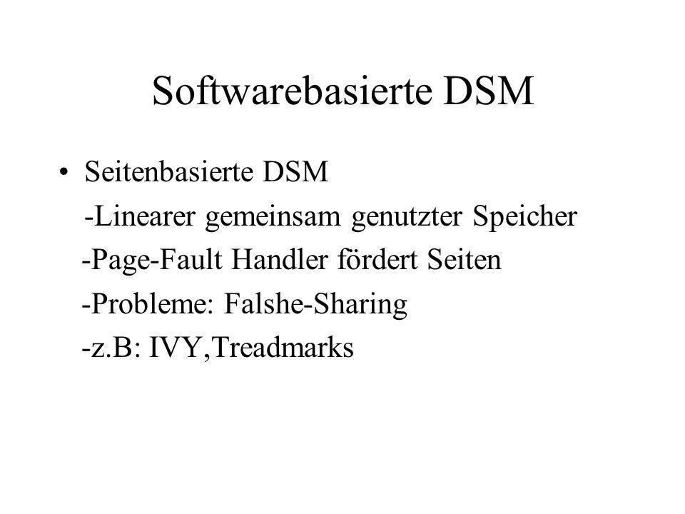 Softwarebasierte DSM Seitenbasierte DSM -Linearer gemeinsam genutzter Speicher -Page-Fault Handler fördert Seiten -Probleme: Falshe-Sharing -z.B: IVY,