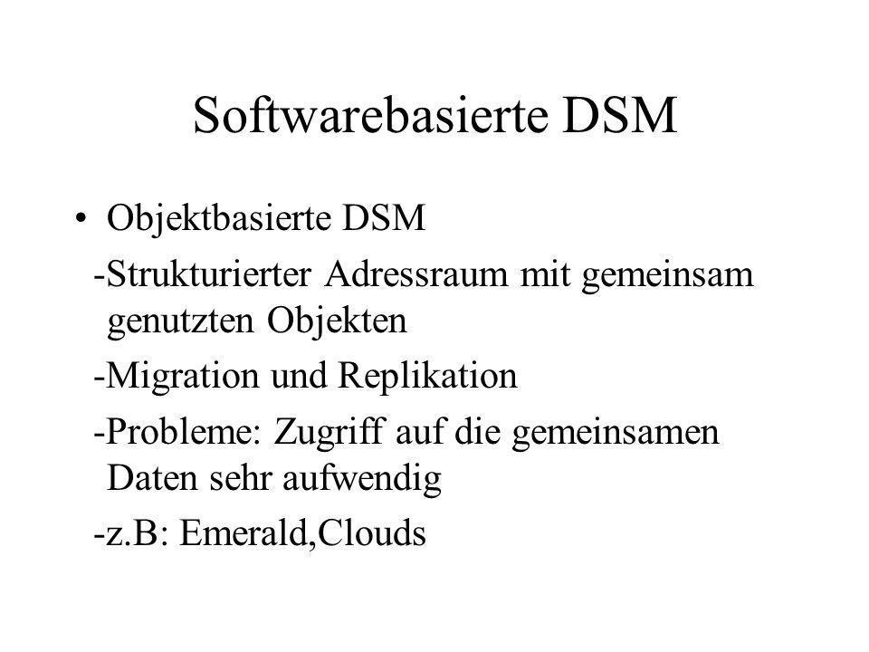 Softwarebasierte DSM Objektbasierte DSM -Strukturierter Adressraum mit gemeinsam genutzten Objekten -Migration und Replikation -Probleme: Zugriff auf