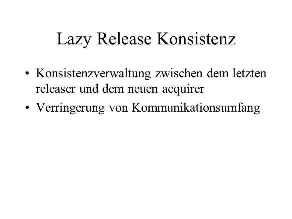 Lazy Release Konsistenz Konsistenzverwaltung zwischen dem letzten releaser und dem neuen acquirer Verringerung von Kommunikationsumfang