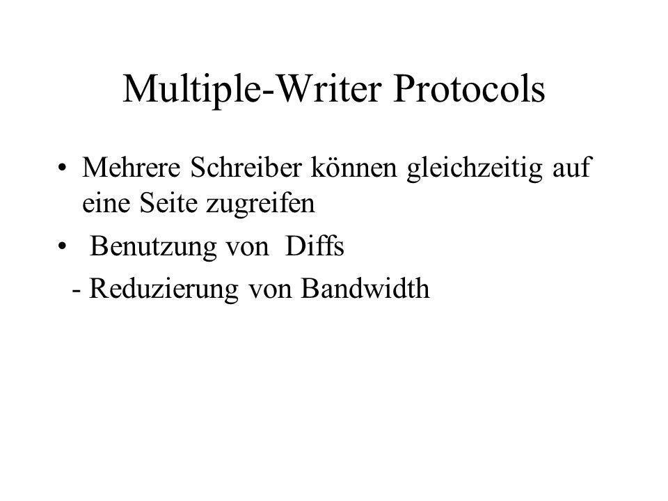 Multiple-Writer Protocols Mehrere Schreiber können gleichzeitig auf eine Seite zugreifen Benutzung von Diffs - Reduzierung von Bandwidth