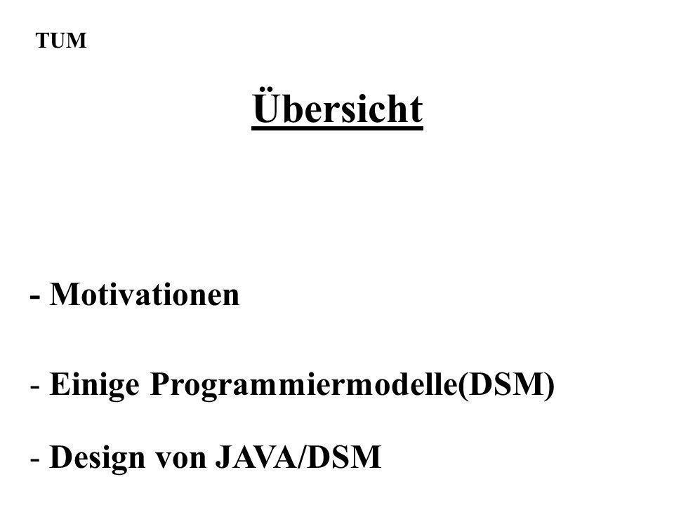 Übersicht TUM - Design von JAVA/DSM - Einige Programmiermodelle(DSM) - Motivationen