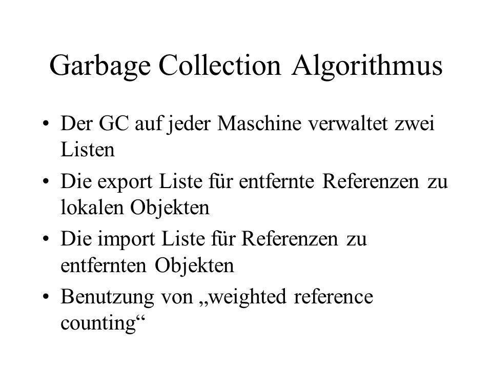 Garbage Collection Algorithmus Der GC auf jeder Maschine verwaltet zwei Listen Die export Liste für entfernte Referenzen zu lokalen Objekten Die impor