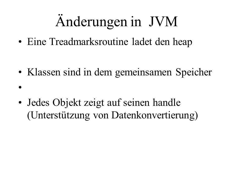 Änderungen in JVM Eine Treadmarksroutine ladet den heap Klassen sind in dem gemeinsamen Speicher Jedes Objekt zeigt auf seinen handle (Unterstützung v