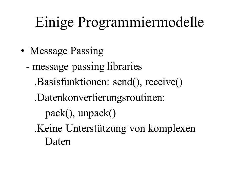 Einige Programmiermodelle Message Passing - message passing libraries.Basisfunktionen: send(), receive().Datenkonvertierungsroutinen: pack(), unpack()