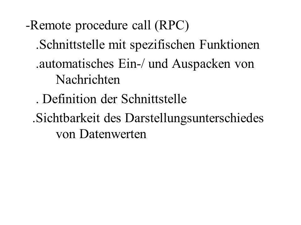 -Remote procedure call (RPC).Schnittstelle mit spezifischen Funktionen.automatisches Ein-/ und Auspacken von Nachrichten. Definition der Schnittstelle
