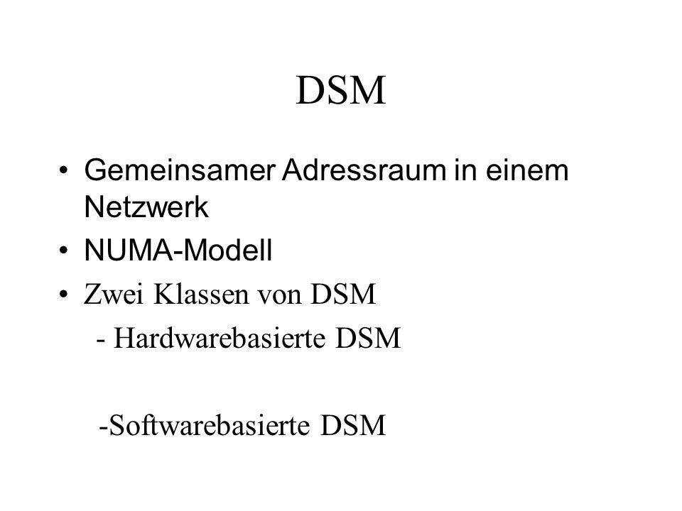 DSM Gemeinsamer Adressraum in einem Netzwerk NUMA-Modell Zwei Klassen von DSM - Hardwarebasierte DSM -Softwarebasierte DSM