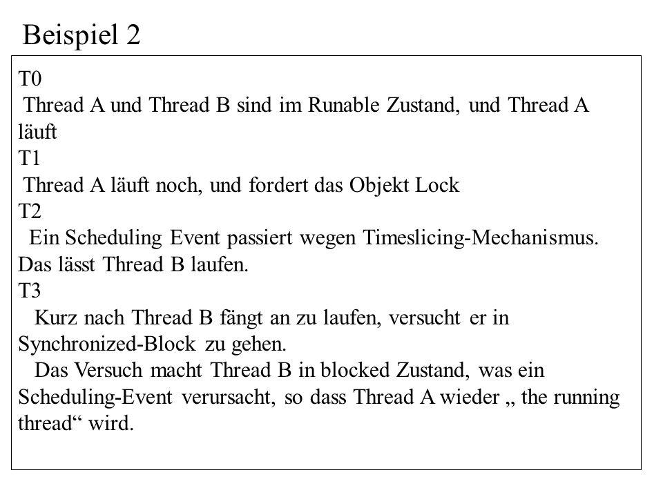 T0 Thread A und Thread B sind im Runable Zustand, und Thread A läuft T1 Thread A läuft noch, und fordert das Objekt Lock T2 Ein Scheduling Event passiert wegen Timeslicing-Mechanismus.