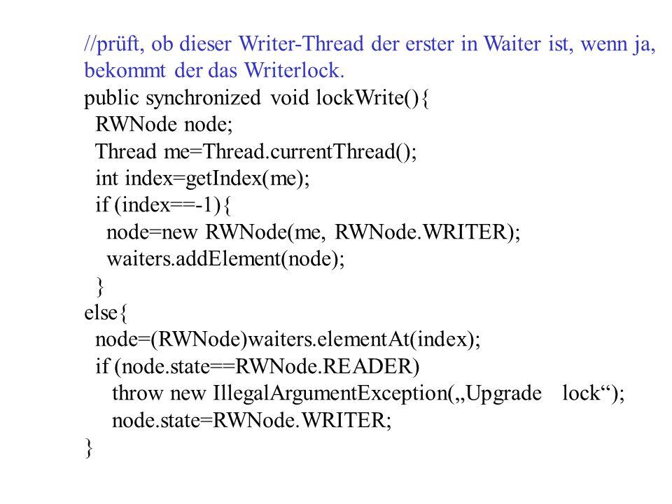 //prüft, ob dieser Writer-Thread der erster in Waiter ist, wenn ja, bekommt der das Writerlock.