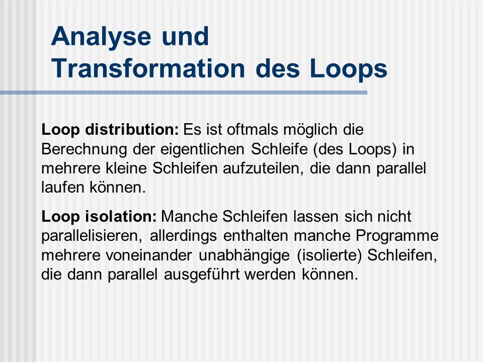 Analyse und Transformation des Loops Loop distribution: Es ist oftmals möglich die Berechnung der eigentlichen Schleife (des Loops) in mehrere kleine Schleifen aufzuteilen, die dann parallel laufen können.