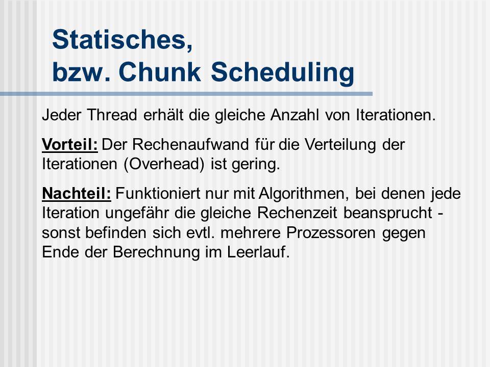 Statisches, bzw.Chunk Scheduling Jeder Thread erhält die gleiche Anzahl von Iterationen.