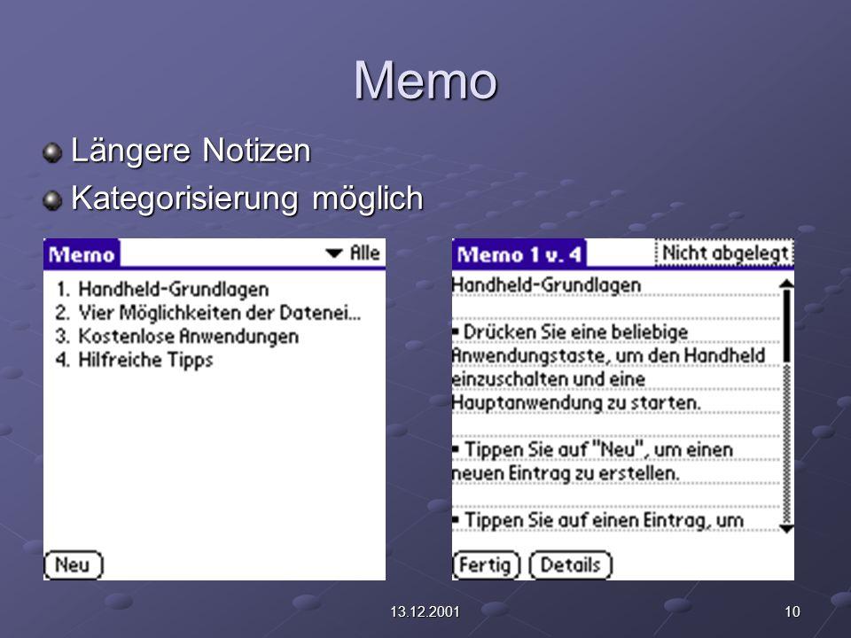 1013.12.2001 Memo Längere Notizen Kategorisierung möglich