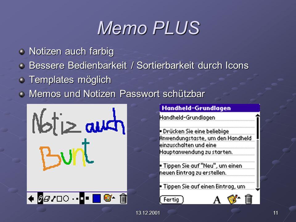1113.12.2001 Memo PLUS Notizen auch farbig Bessere Bedienbarkeit / Sortierbarkeit durch Icons Templates möglich Memos und Notizen Passwort schützbar