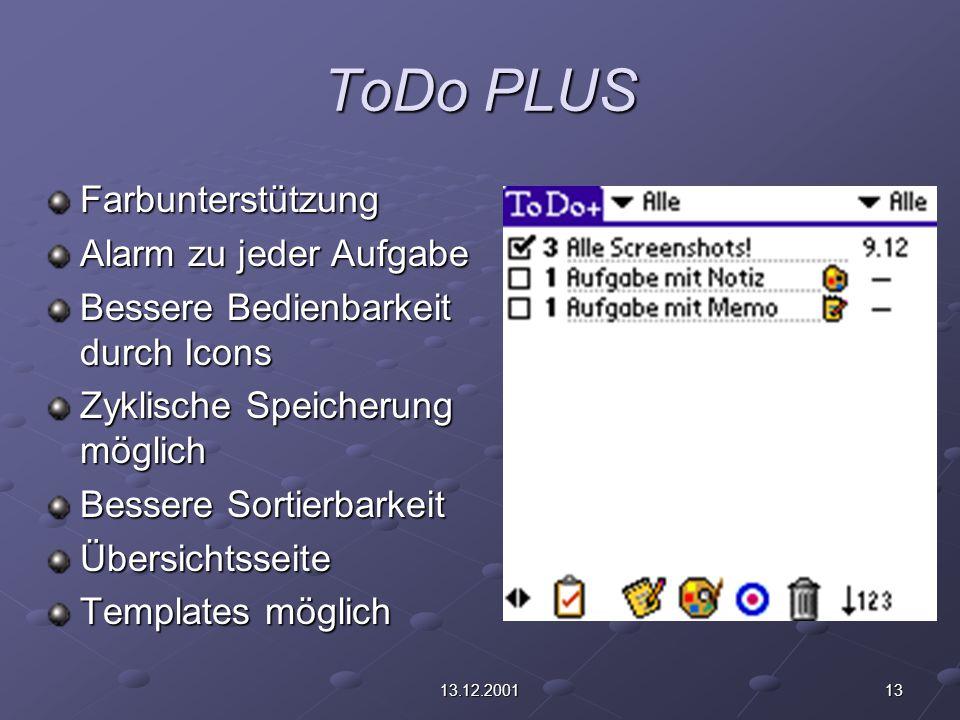 1313.12.2001 ToDo PLUS Farbunterstützung Alarm zu jeder Aufgabe Bessere Bedienbarkeit durch Icons Zyklische Speicherung möglich Bessere Sortierbarkeit