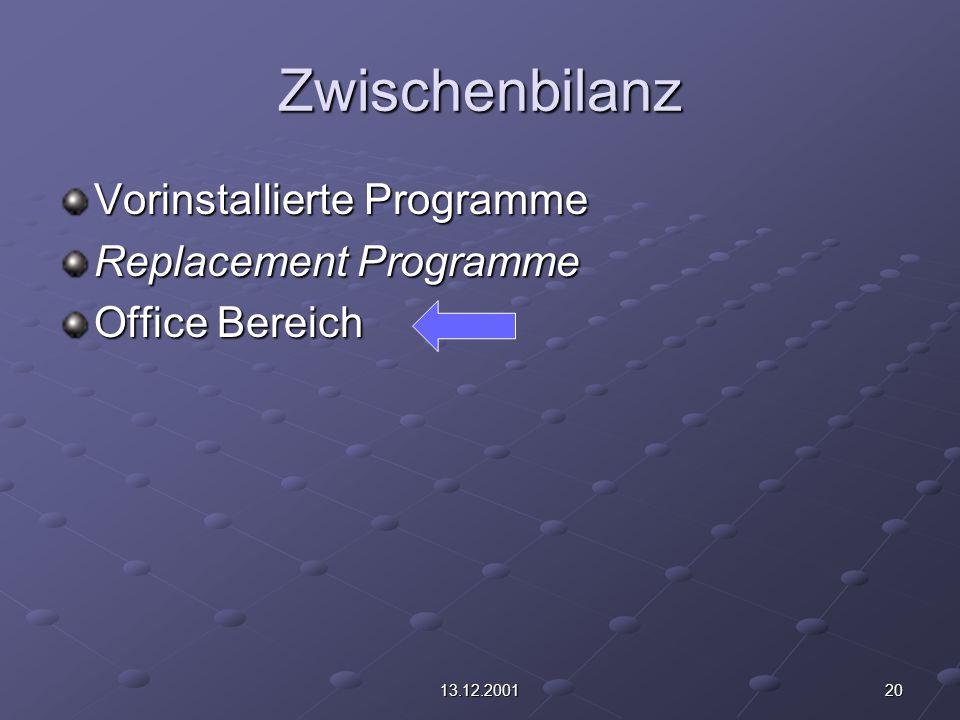 2013.12.2001 Zwischenbilanz Vorinstallierte Programme Replacement Programme Office Bereich