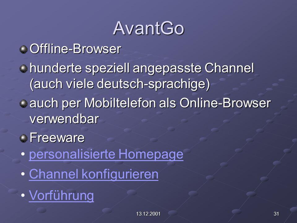 3113.12.2001 AvantGo Offline-Browser hunderte speziell angepasste Channel (auch viele deutsch-sprachige) auch per Mobiltelefon als Online-Browser verwendbar Freeware personalisierte Homepage Channel konfigurieren Vorführung