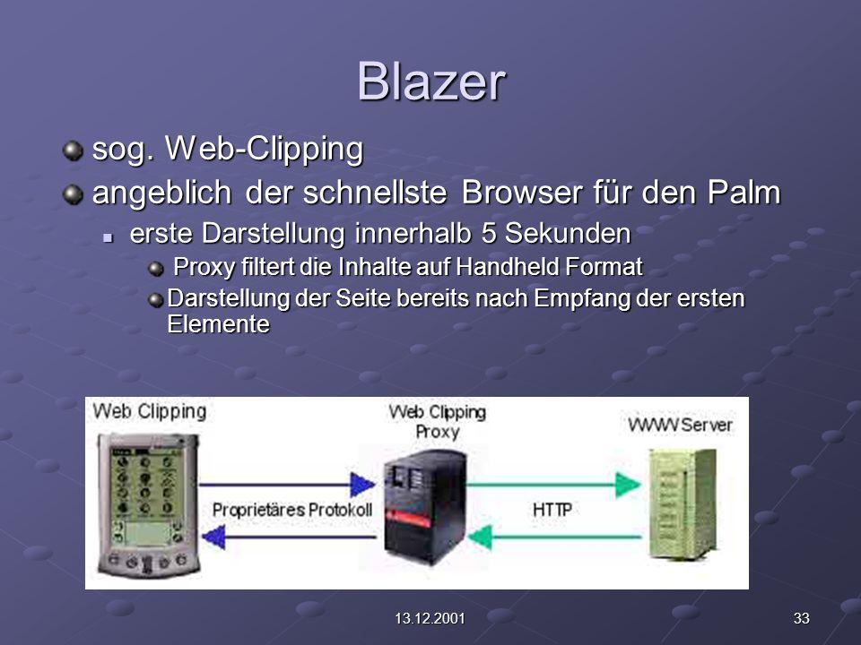 3313.12.2001 Blazer sog. Web-Clipping angeblich der schnellste Browser für den Palm erste Darstellung innerhalb 5 Sekunden erste Darstellung innerhalb