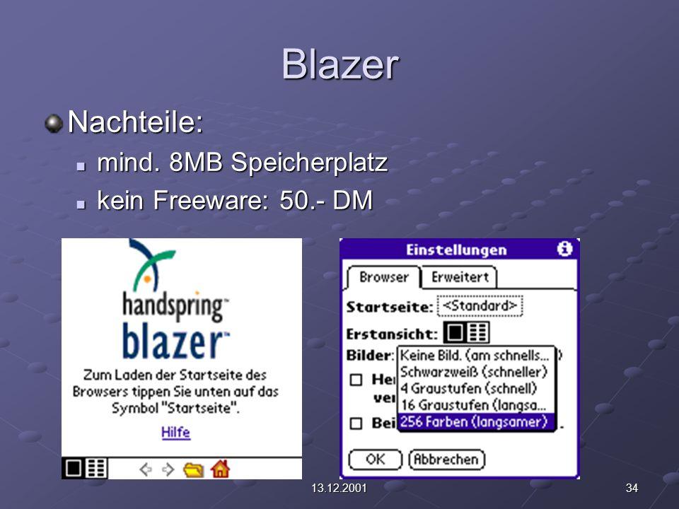 3413.12.2001 Blazer Nachteile: mind. 8MB Speicherplatz mind. 8MB Speicherplatz kein Freeware: 50.- DM kein Freeware: 50.- DM