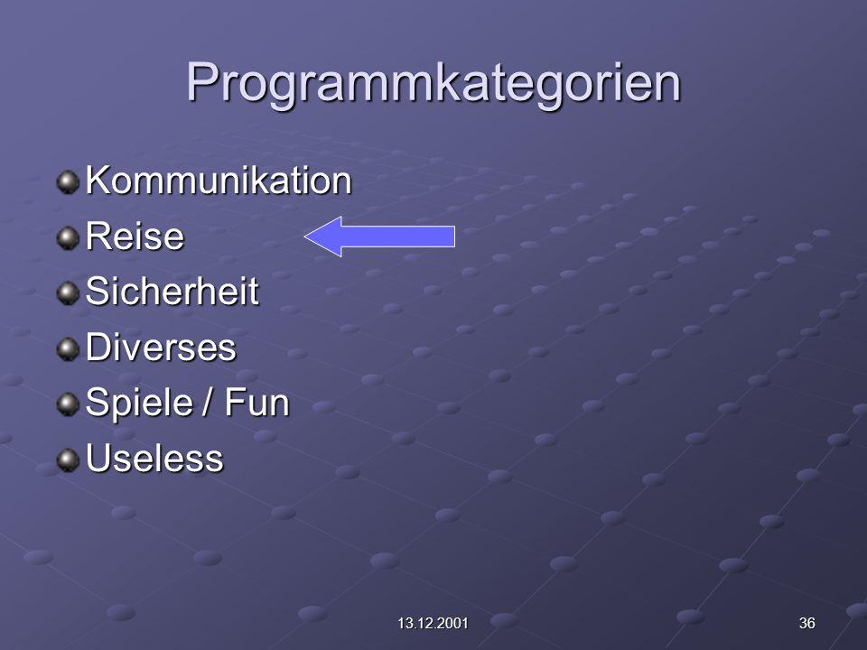 3613.12.2001 Programmkategorien KommunikationReiseSicherheitDiverses Spiele / Fun Useless