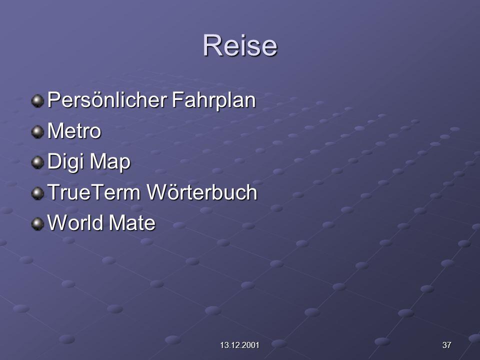 3713.12.2001 Reise Persönlicher Fahrplan Metro Digi Map TrueTerm Wörterbuch World Mate