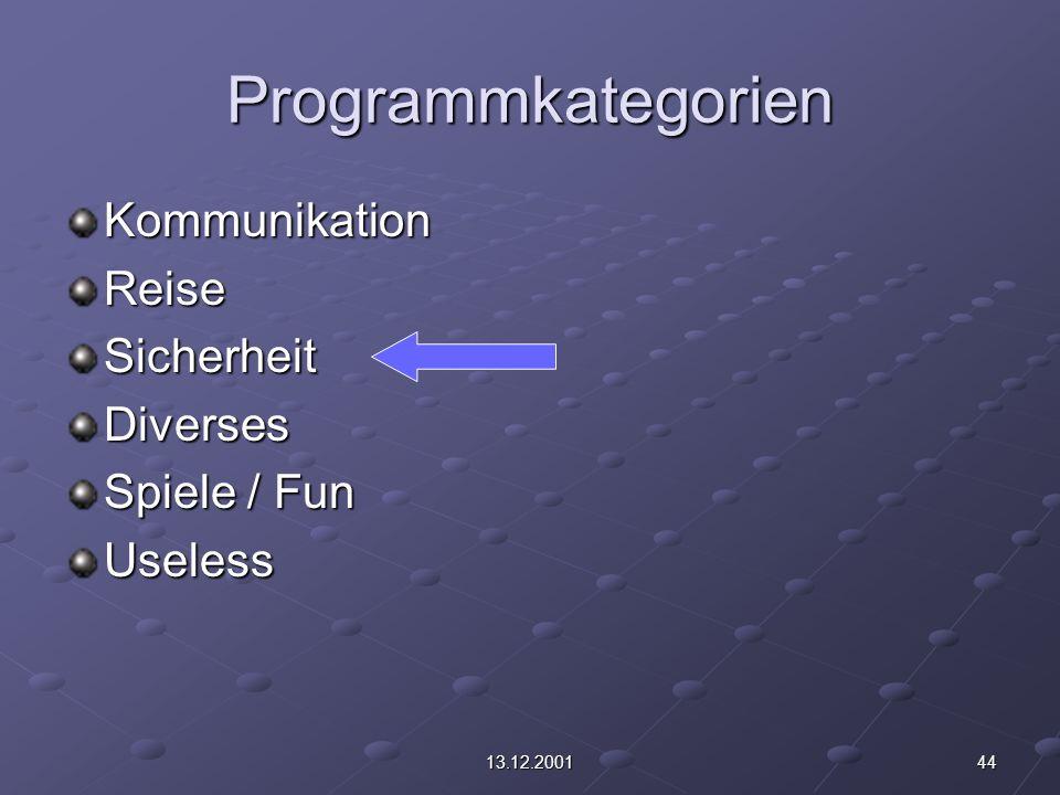 4413.12.2001 Programmkategorien KommunikationReiseSicherheitDiverses Spiele / Fun Useless