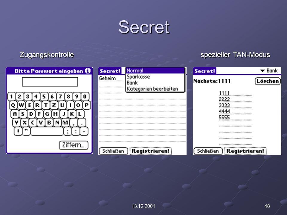 4813.12.2001 Secret spezieller TAN-Modus Zugangskontrolle