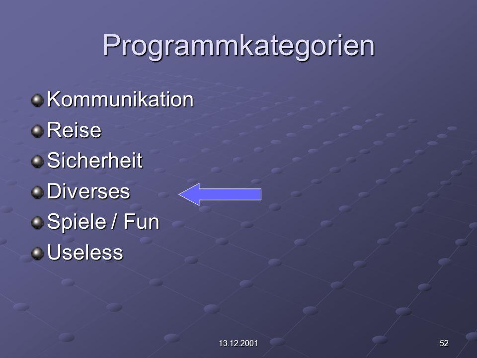 5213.12.2001 Programmkategorien KommunikationReiseSicherheitDiverses Spiele / Fun Useless