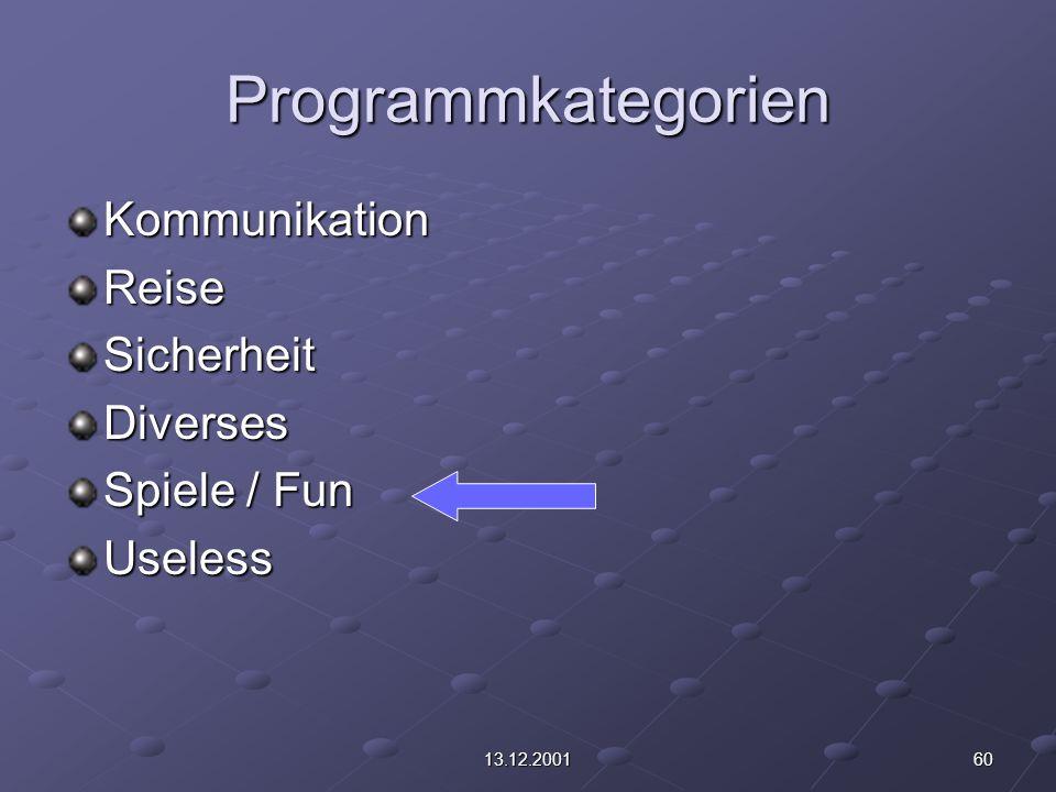 6013.12.2001 Programmkategorien KommunikationReiseSicherheitDiverses Spiele / Fun Useless