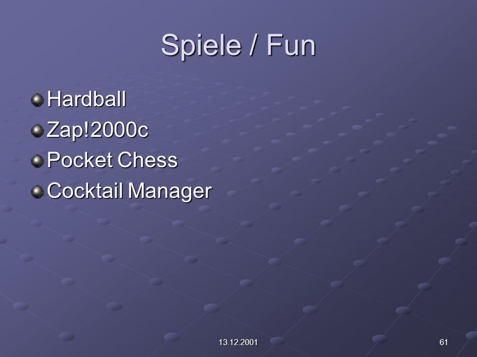 6113.12.2001 Spiele / Fun HardballZap!2000c Pocket Chess Cocktail Manager