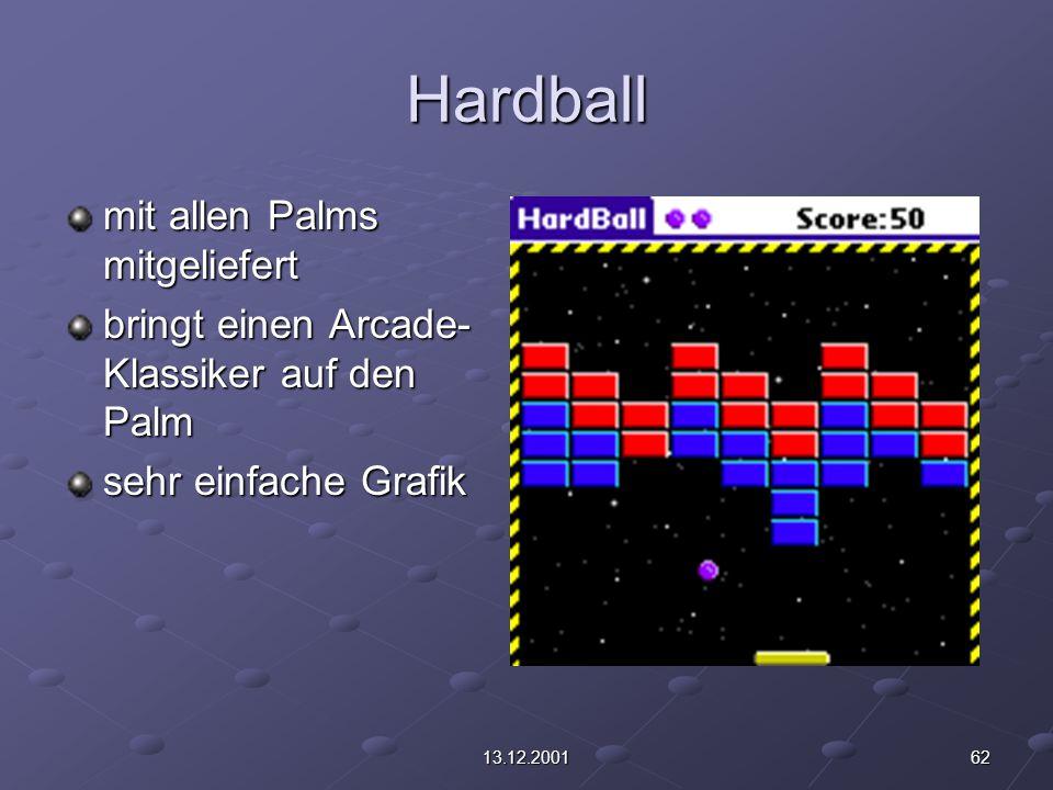 6213.12.2001 Hardball mit allen Palms mitgeliefert bringt einen Arcade- Klassiker auf den Palm sehr einfache Grafik