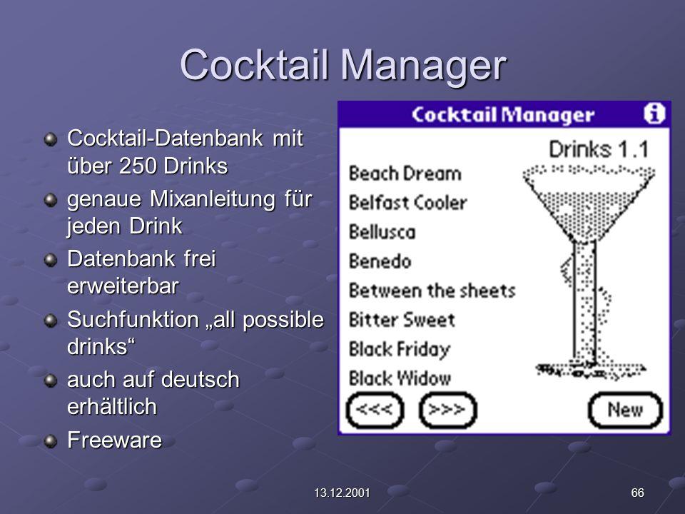 """6613.12.2001 Cocktail Manager Cocktail-Datenbank mit über 250 Drinks genaue Mixanleitung für jeden Drink Datenbank frei erweiterbar Suchfunktion """"all possible drinks auch auf deutsch erhältlich Freeware"""