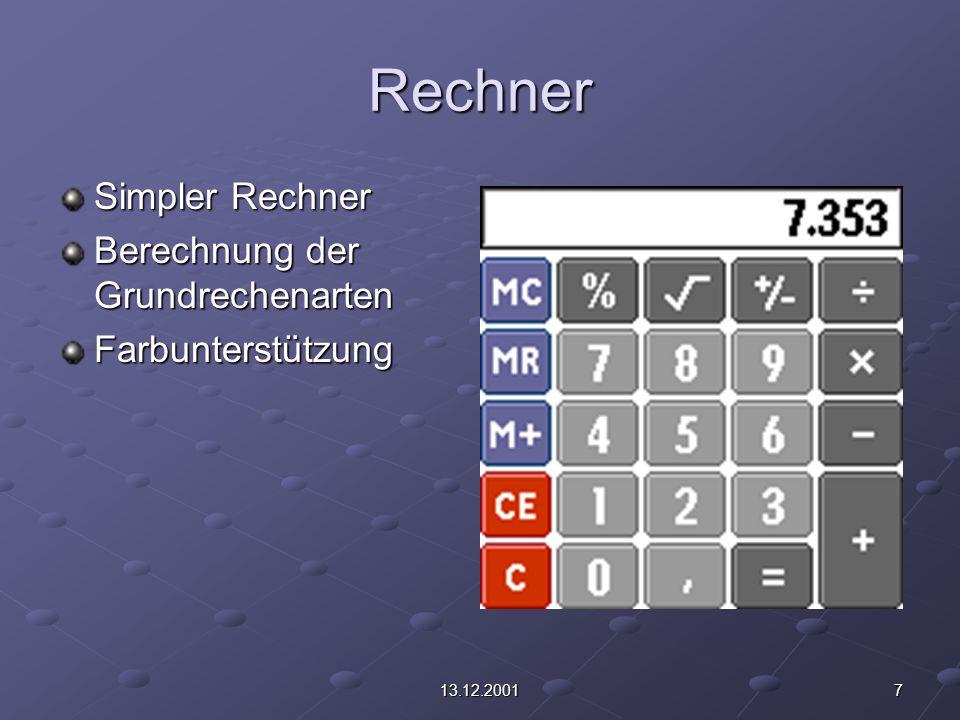 713.12.2001 Rechner Simpler Rechner Berechnung der Grundrechenarten Farbunterstützung
