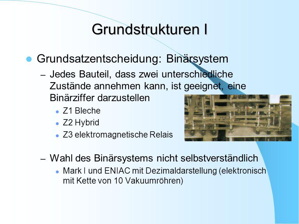 Grundstrukturen I Grundsatzentscheidung: Binärsystem – Jedes Bauteil, dass zwei unterschiedliche Zustände annehmen kann, ist geeignet, eine Binärziffe