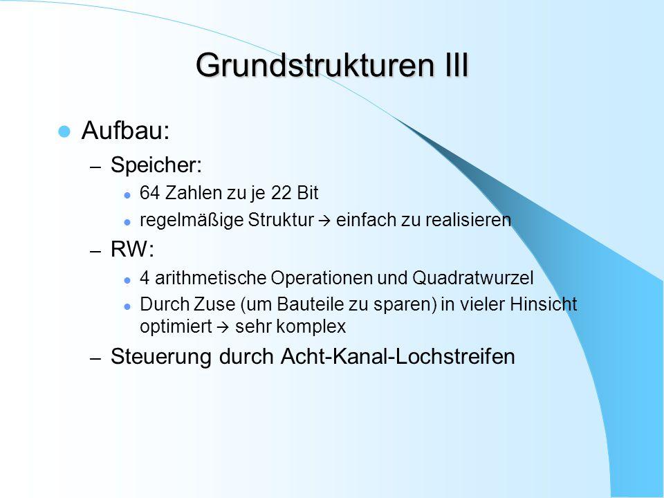 Grundstrukturen III Aufbau: – Speicher: 64 Zahlen zu je 22 Bit regelmäßige Struktur  einfach zu realisieren – RW: 4 arithmetische Operationen und Qua