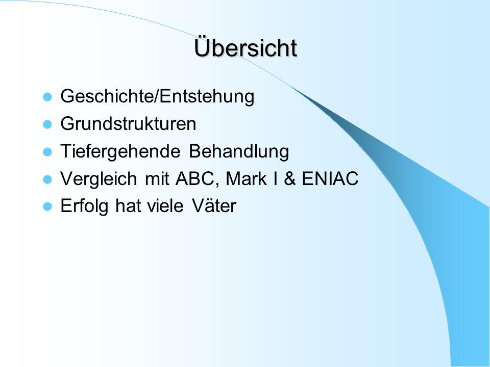 Übersicht Geschichte/Entstehung Grundstrukturen Tiefergehende Behandlung Vergleich mit ABC, Mark I & ENIAC Erfolg hat viele Väter