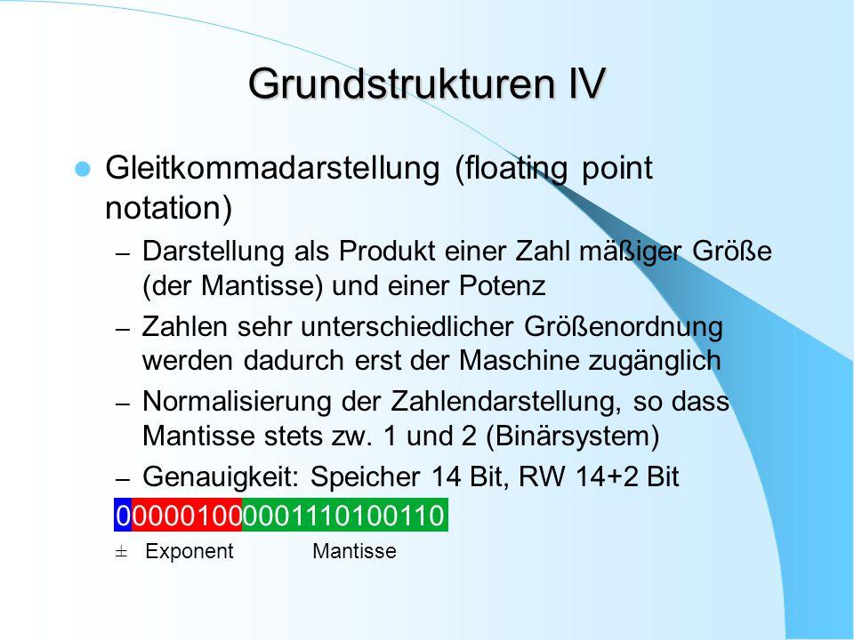 Grundstrukturen IV Gleitkommadarstellung (floating point notation) – Darstellung als Produkt einer Zahl mäßiger Größe (der Mantisse) und einer Potenz