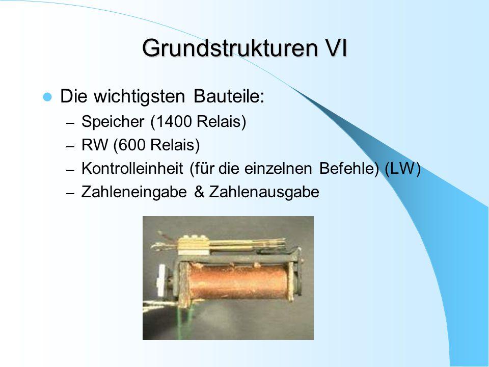 Grundstrukturen VI Die wichtigsten Bauteile: – Speicher (1400 Relais) – RW (600 Relais) – Kontrolleinheit (für die einzelnen Befehle) (LW) – Zahlenein