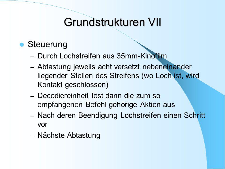 Grundstrukturen VII Steuerung – Durch Lochstreifen aus 35mm-Kinofilm – Abtastung jeweils acht versetzt nebeneinander liegender Stellen des Streifens (