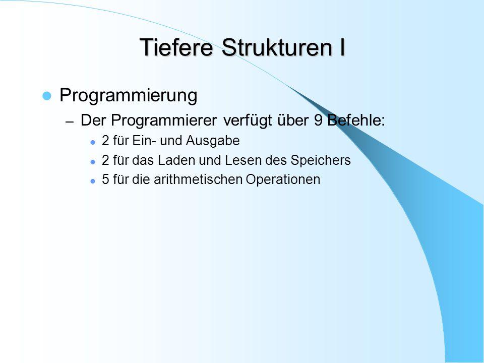 Tiefere Strukturen I Programmierung – Der Programmierer verfügt über 9 Befehle: 2 für Ein- und Ausgabe 2 für das Laden und Lesen des Speichers 5 für d