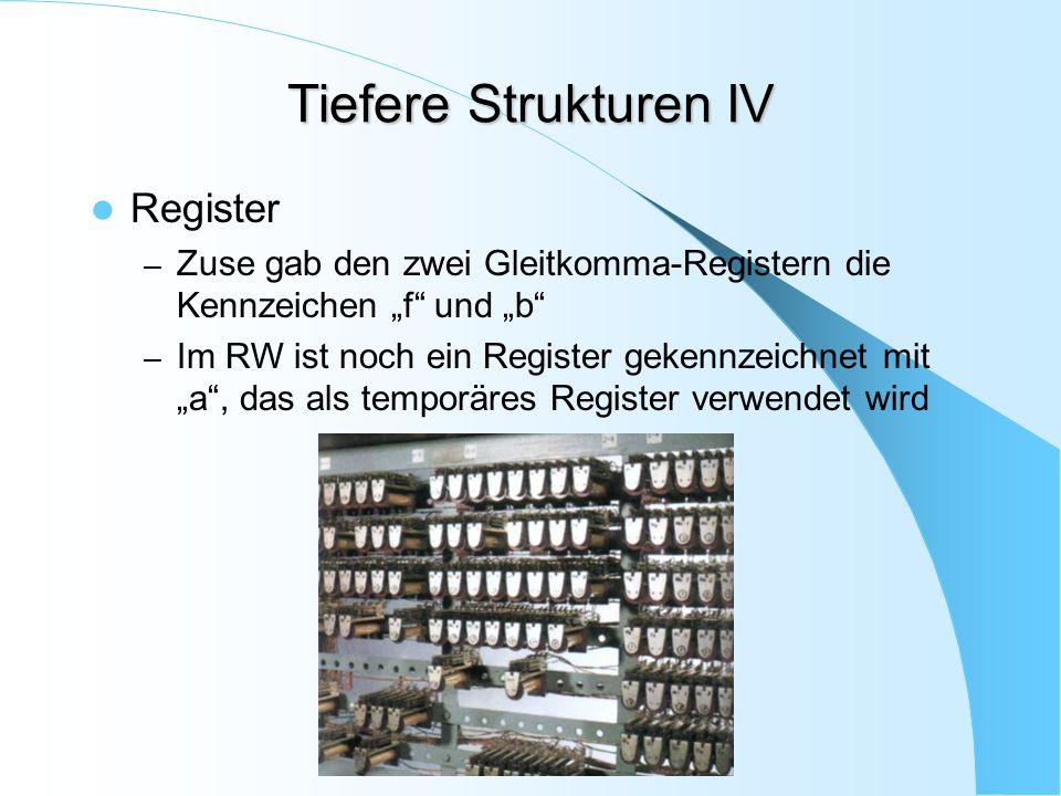 """Tiefere Strukturen IV Register – Zuse gab den zwei Gleitkomma-Registern die Kennzeichen """"f"""" und """"b"""" – Im RW ist noch ein Register gekennzeichnet mit """""""