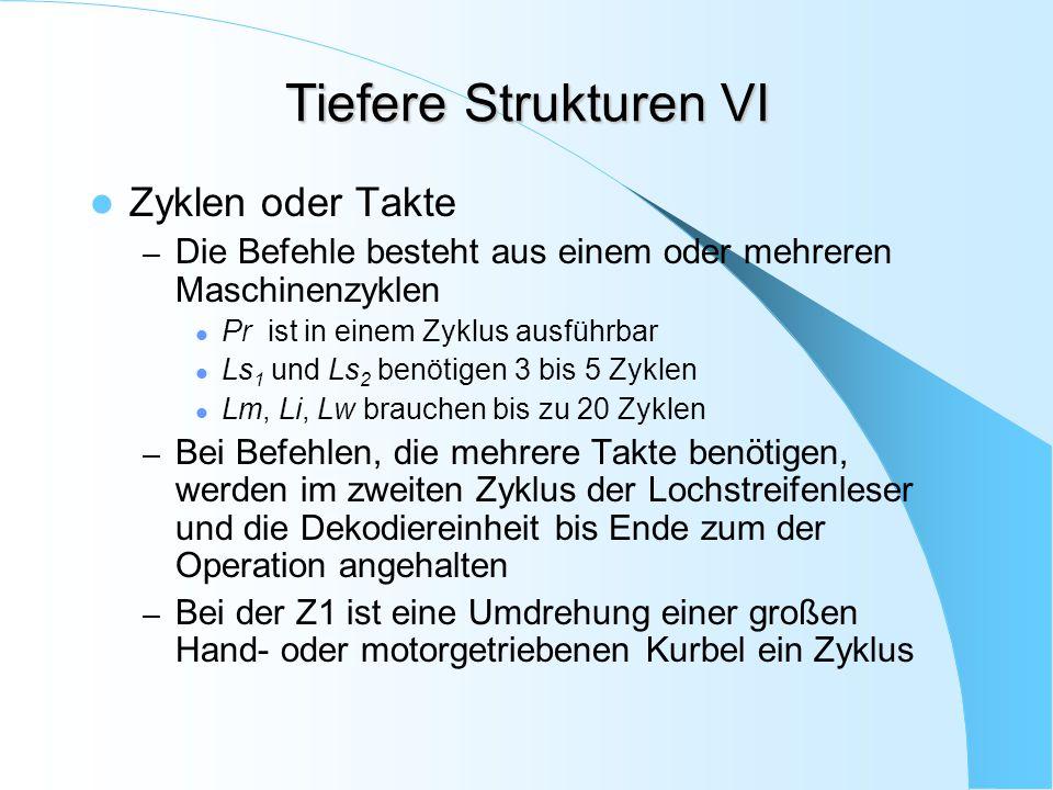 Tiefere Strukturen VI Zyklen oder Takte – Die Befehle besteht aus einem oder mehreren Maschinenzyklen Pr ist in einem Zyklus ausführbar Ls 1 und Ls 2