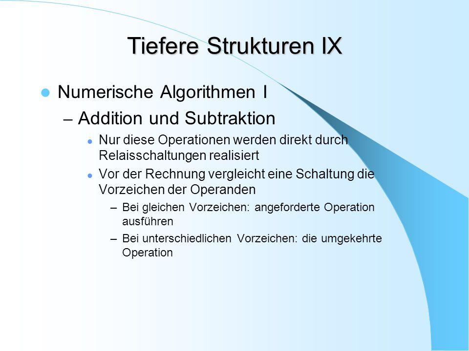 Tiefere Strukturen IX Numerische Algorithmen I – Addition und Subtraktion Nur diese Operationen werden direkt durch Relaisschaltungen realisiert Vor d