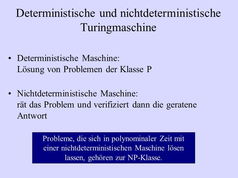 Deterministische und nichtdeterministische Turingmaschine Deterministische Maschine: Lösung von Problemen der Klasse P Nichtdeterministische Maschine: