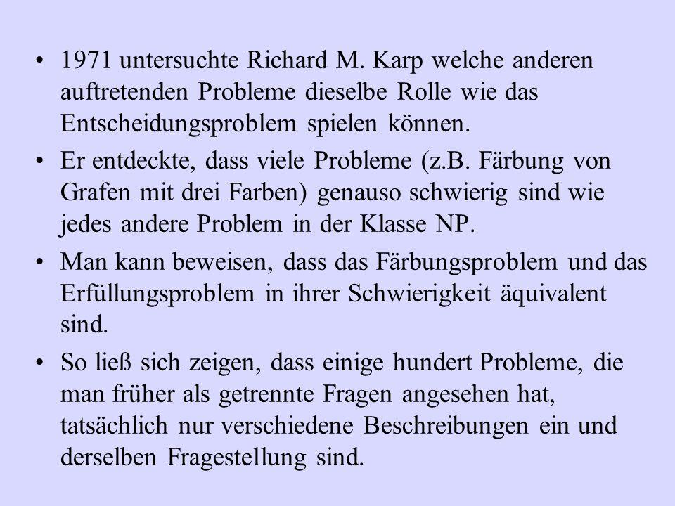 1971 untersuchte Richard M. Karp welche anderen auftretenden Probleme dieselbe Rolle wie das Entscheidungsproblem spielen können. Er entdeckte, dass v
