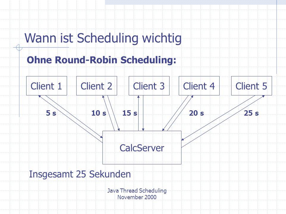 Ohne Round-Robin Scheduling: CalcServer Client 1Client 2Client 3Client 4Client 5 5 s10 s15 s20 s25 s Insgesamt 25 Sekunden Java Thread Scheduling November 2000